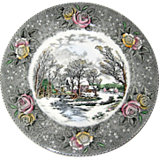 """Adams Currier Transferware Plate - """"Winter in the Country - The Old Grist Mill"""" - Wild Rose Border"""