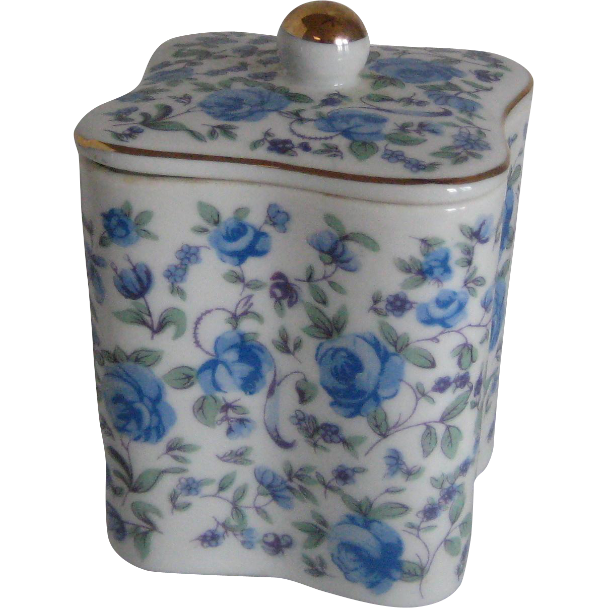 Blue Porcelain Chintz Box with Roses