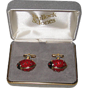 Vintage Enameled Ladybug Cufflinks - Original Bullock and Jones Box
