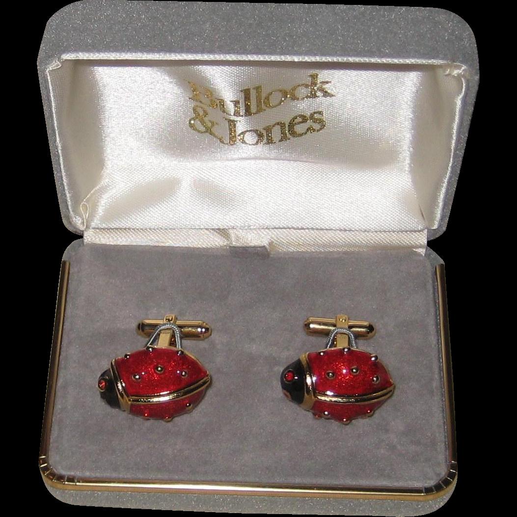 Vintage Enameled Ladybug Cufflinks - Original Bullock and Jones Box