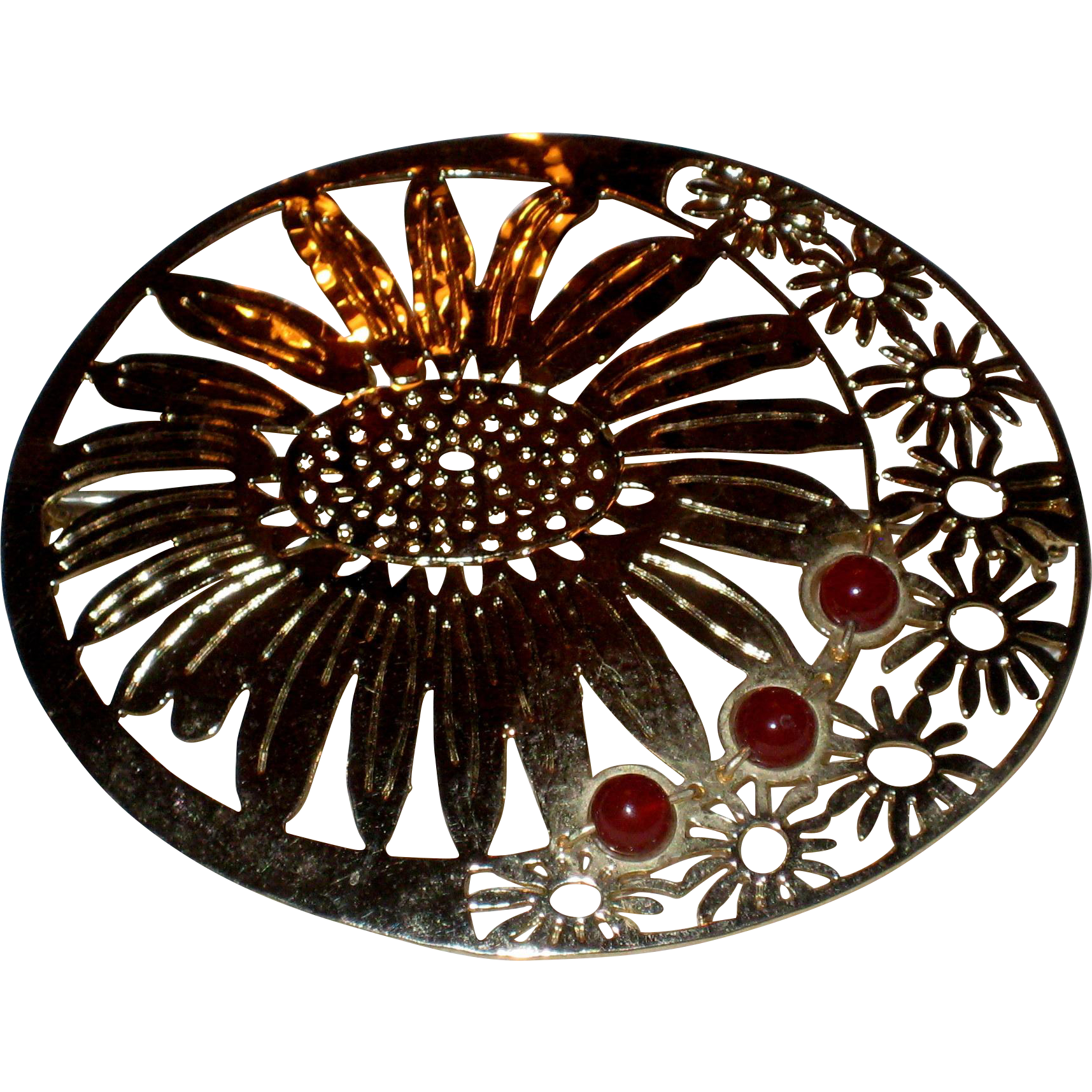 Retired Wild Bryde Sunflower Pin with Glass Bead Accents