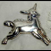 Taxco Mexican Sterling Silver Figural Lamb or Goat Pin