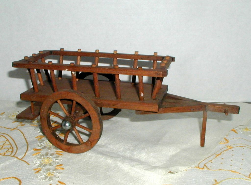 Hand Made Miniature Wooden Hay Wagon