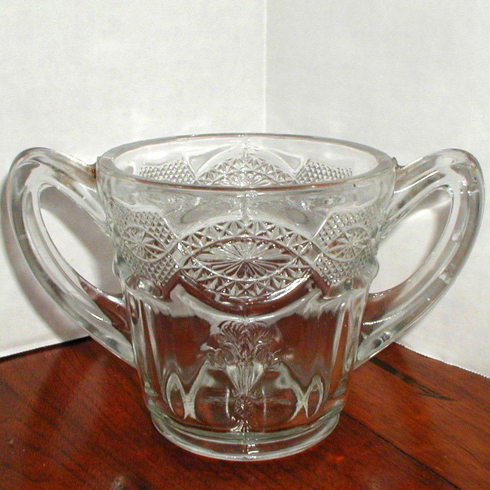 EAPG Thistleblow Glass Sugar or Spooner with Handles