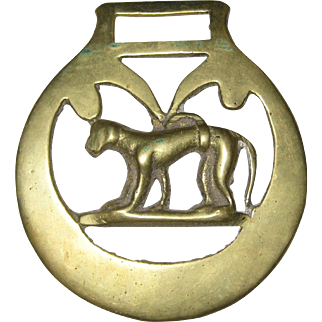 Decorative Brass Horse Harness Ornament or Medallion with Dog - Greyhound or Whippet