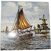 "Delft Hand Painted Polychrome Tile - 4 1/2"" Square, 1970's"
