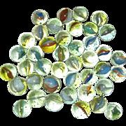 "Lot of Peltier Banana Cat's Eye Glass Marbles circa 1950 5/8"""