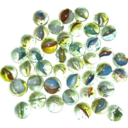Lot of Peltier Banana Cat's Eye Glass Marbles circa 1950 5/8""