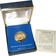The Bicentennial Council of the Thirteen Original States Official US Gold Medal - Franklin Mint 1976