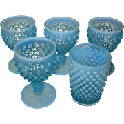 Fenton Blue Opalescent Hobnail Cordial Goblets and Tumbler