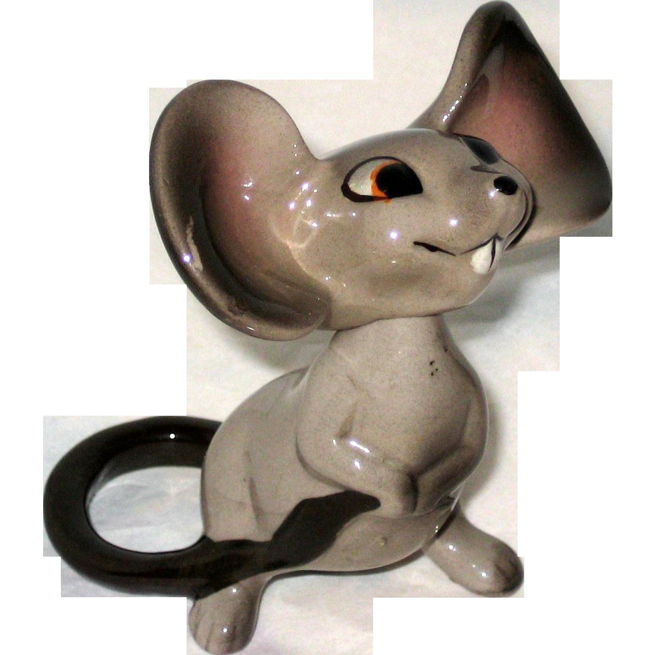 Cute Two Piece Porcelain Mouse Figurine