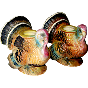 Napco Bisque Thanksgiving Turkey Candleholders