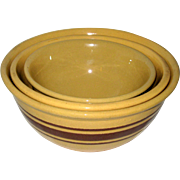 Weller Pottery - Set of Three Brown Banded Nesting Mixing Bowls - Yellow Utility Ware