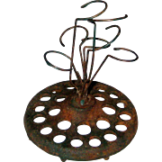 Jay P. Orben Cast Iron and Wire Flower Frog - Patented 1935