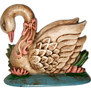 1970's Cast Iron Swan Doorstop