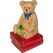 1970's Teddy Bear with an Apple and Books - Corner Doorstop or Book End