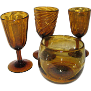 Four Pieces of Amber Hand Blown Mexican Bubble Glass - Cordials and Stemless - Red Tag Sale Item
