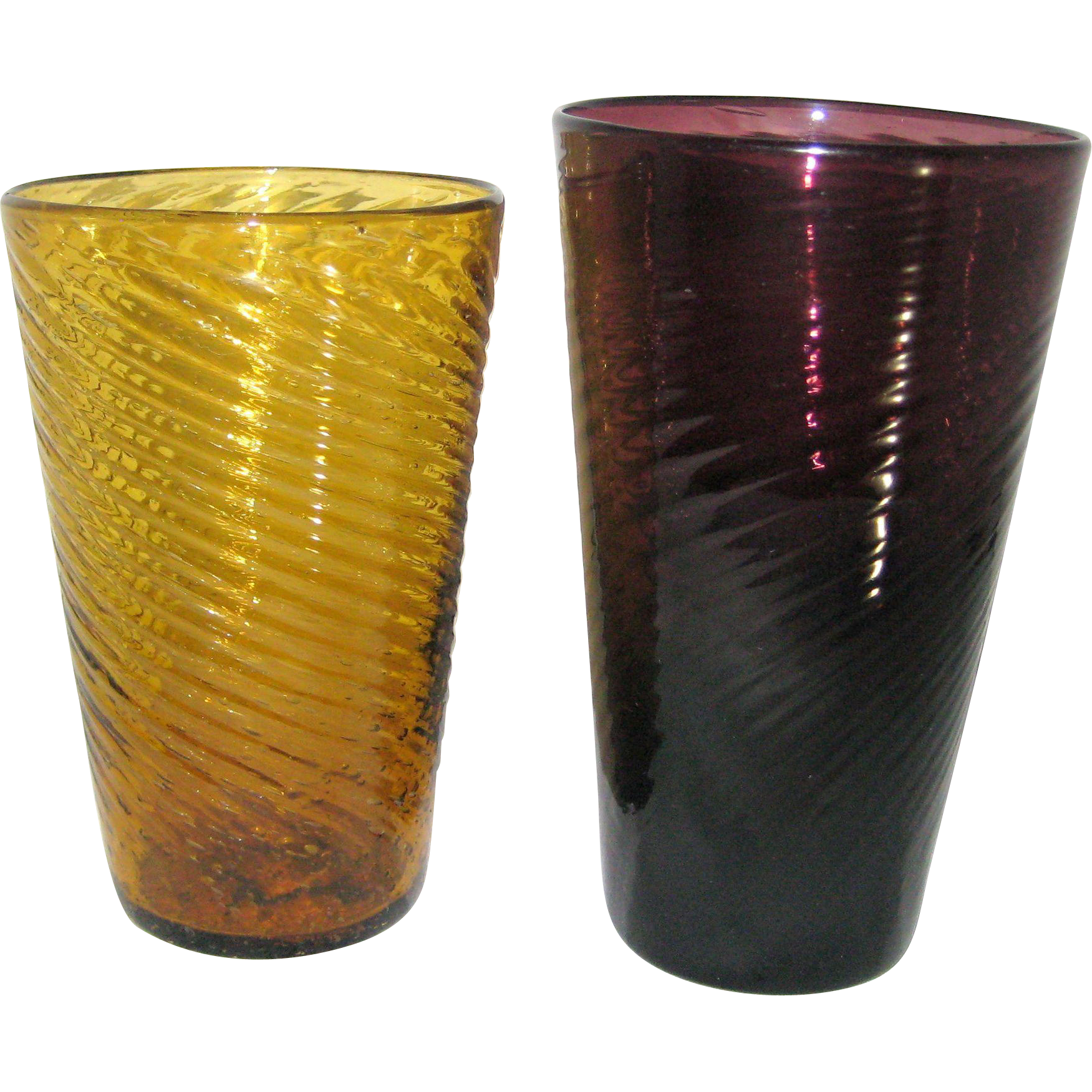 Two Mexican Hand Blown Swirled Bubble Glass Tumblers - Amber and Amethyst Colored