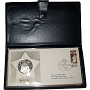 1974 Franklin Mint Christmas in Bethlehem Commemorative Silver Medal and First Day Cover