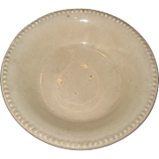 "19th C Ironstone Pottery Pie Plate or Dish with Beaded Edge - 10 7/8"" - ""Creamed Corn Color"""