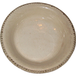 "19th C Ironstone Pottery Pie Plate or Dish with Beaded Edge - 8 7/8"" - ""Cream Color"""