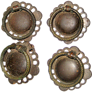 Four Vintage Brass Ring Pulls from Old Dresser or Desk