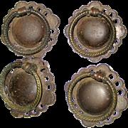 Four Vintage Brass Ring Pulls from Old Dresser or Desk