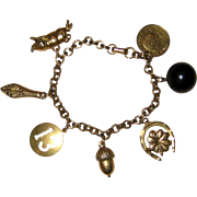 Coro Gold-Tone Charm Bracelet with Seven Lucky Charms