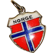 Jay Posen Sterling and Enamel Norway Norge Shield Charm