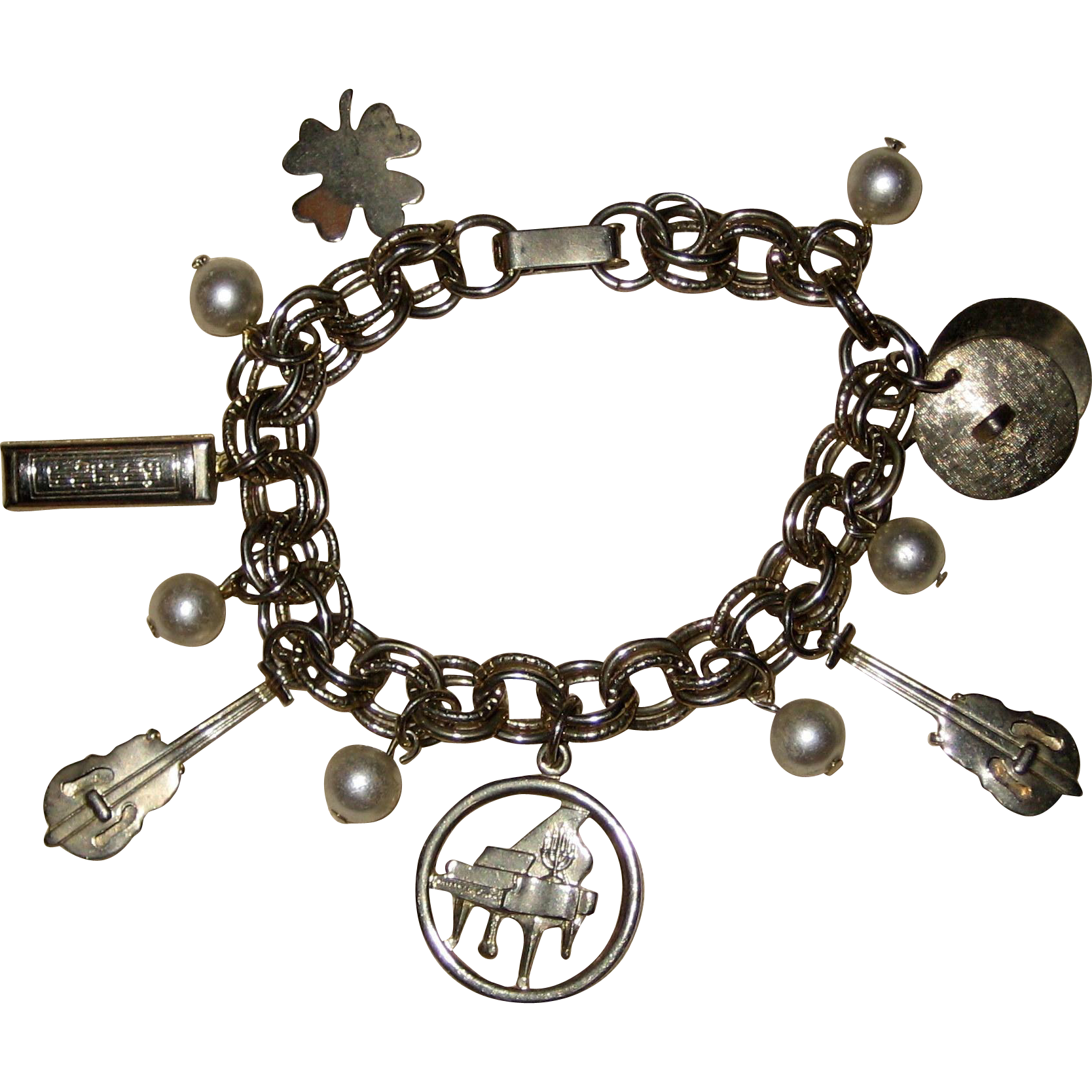 Gold-tone Charm Bracelet with Musical Charms