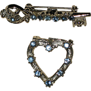 Silver-tone Pin Duo - Heart and Key with Light Blue Rhinestones