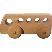 Hand Made Wooden Push Toy Bus