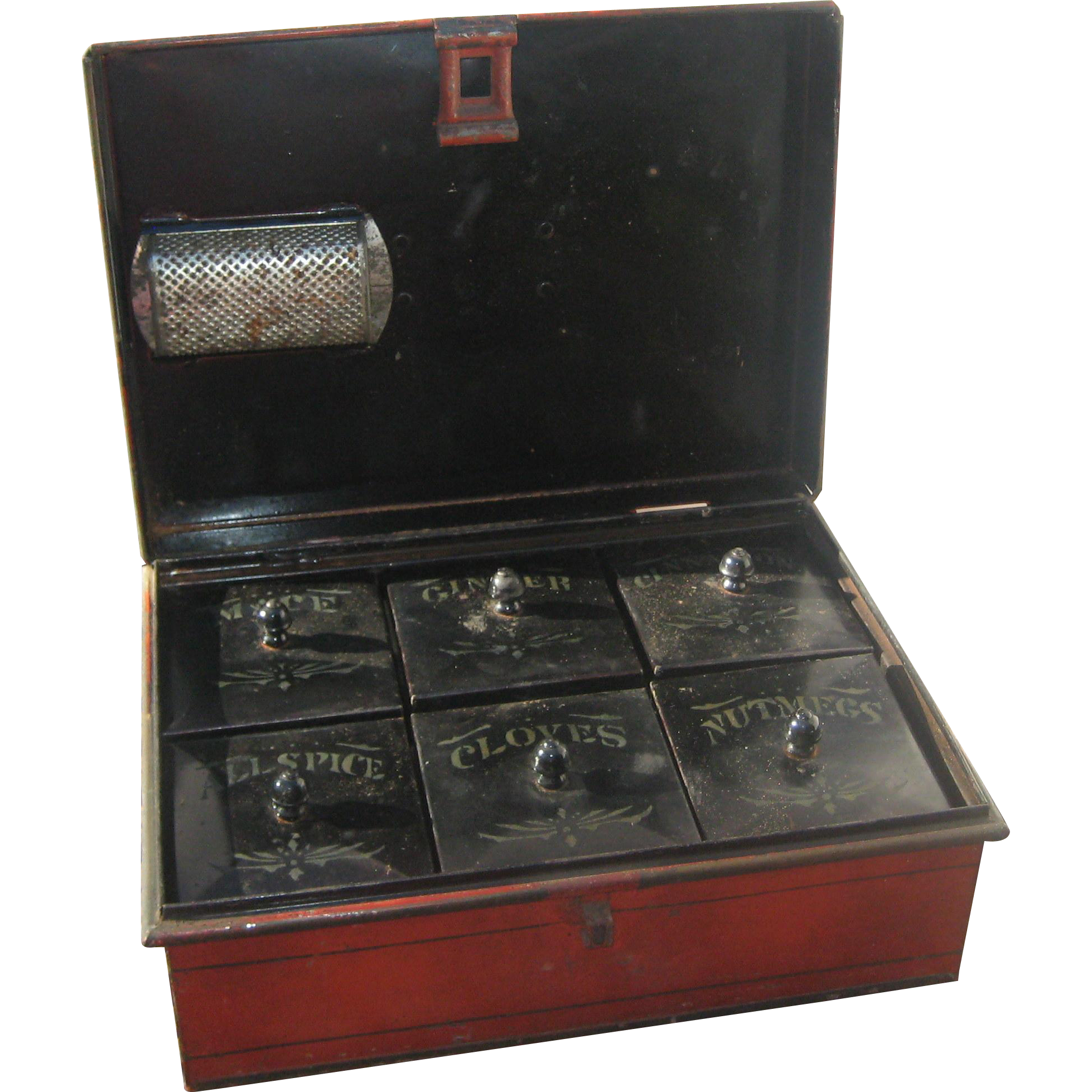 1890's Kreamer #2 Tin Spice Box - Complete with All Inner Boxes and Nutmeg Grater