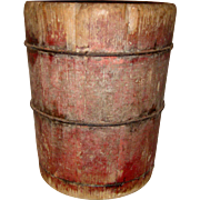 Primitive Antique Wooden Staved Double Grain Measure Bucket