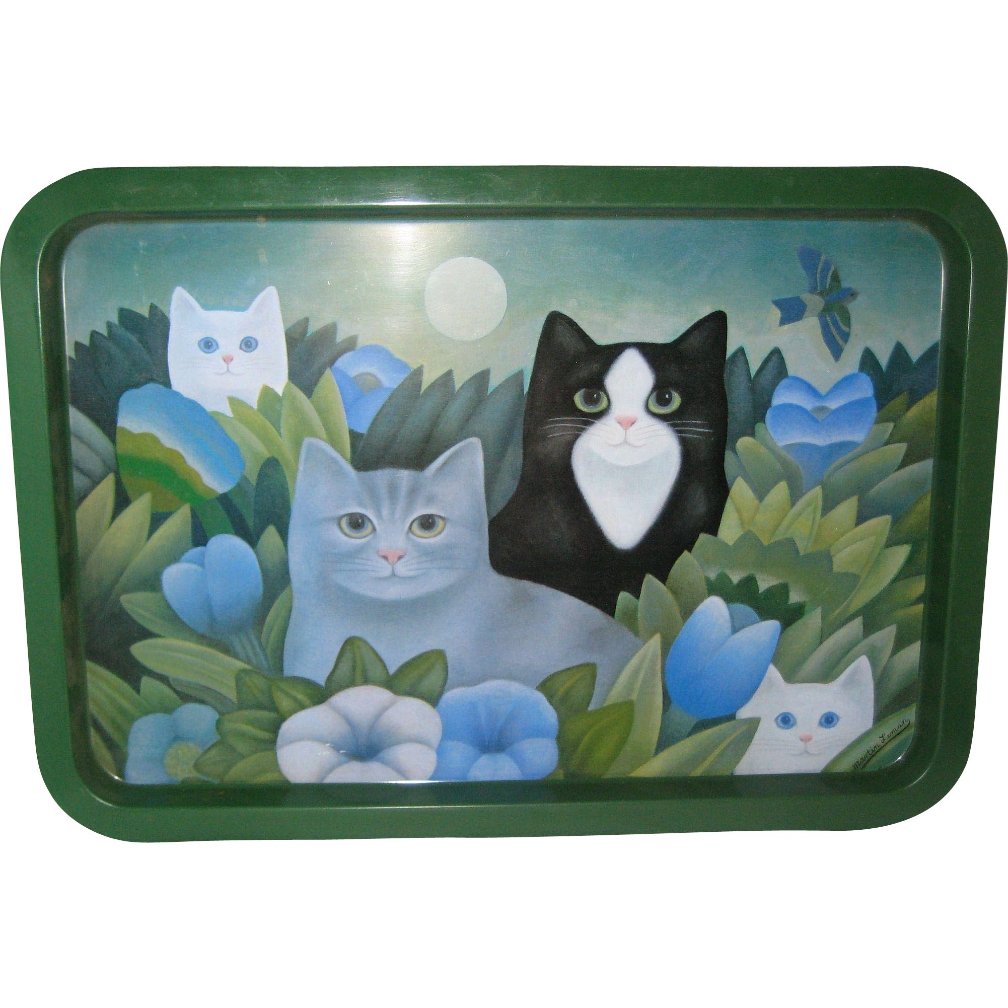 "Martin Leman Metal Cat Tray - 19 1/2"" x 13 1/2"" -  1980's"