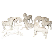 Set of Eight White Ceramic Horse Figurines - New on Original Box