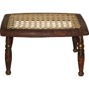 19th Century Hand Turned Footstool or Children's Stool - Pennsylvania Dutch Country Primitive - Remnants of Hand Painting