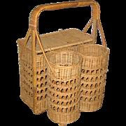 Wicker Picnic Basket or Hamper with Two Wine Bottle Holders