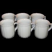 Set of Six EPIAG, Czech Republic White Embossed Porcelain Cups in Original Box