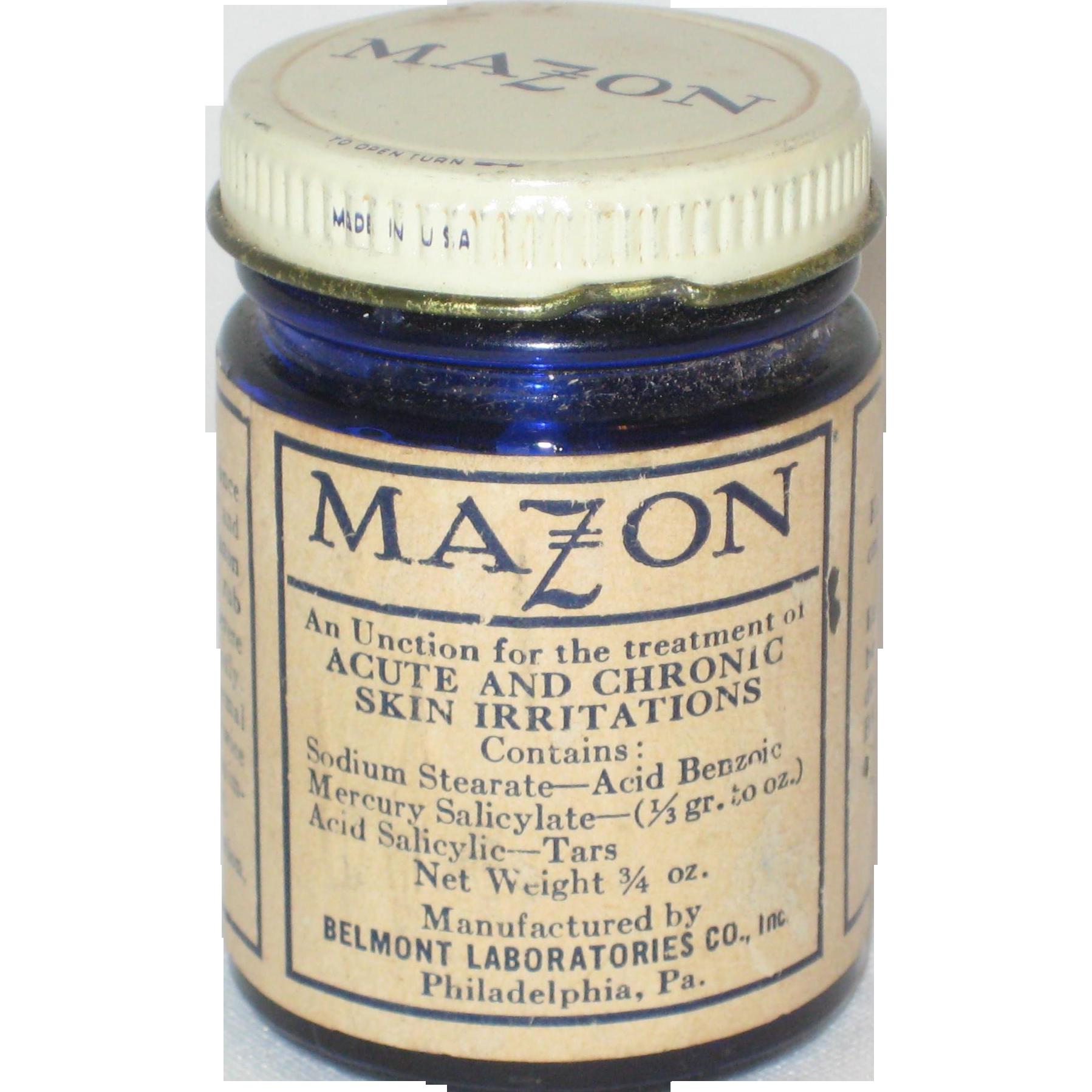 Mazon Cobalt Glass Jar - Medicine Bottle