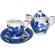 Blue Willow Porcelain Children's Doll Dishes - Four Pieces