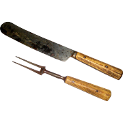 William Greaves & Son Sheffield Knife and Fork with Carved Bone Handles - Circa 1820