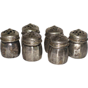 Set of  Six Individual Miniature Sterling Silver Salt and Pepper Shakers