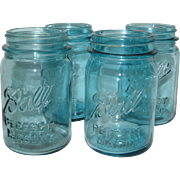 Four Ball Perfect Mason Aqua Blue Pint Canning or Fruit Jars - 1923 - 1962