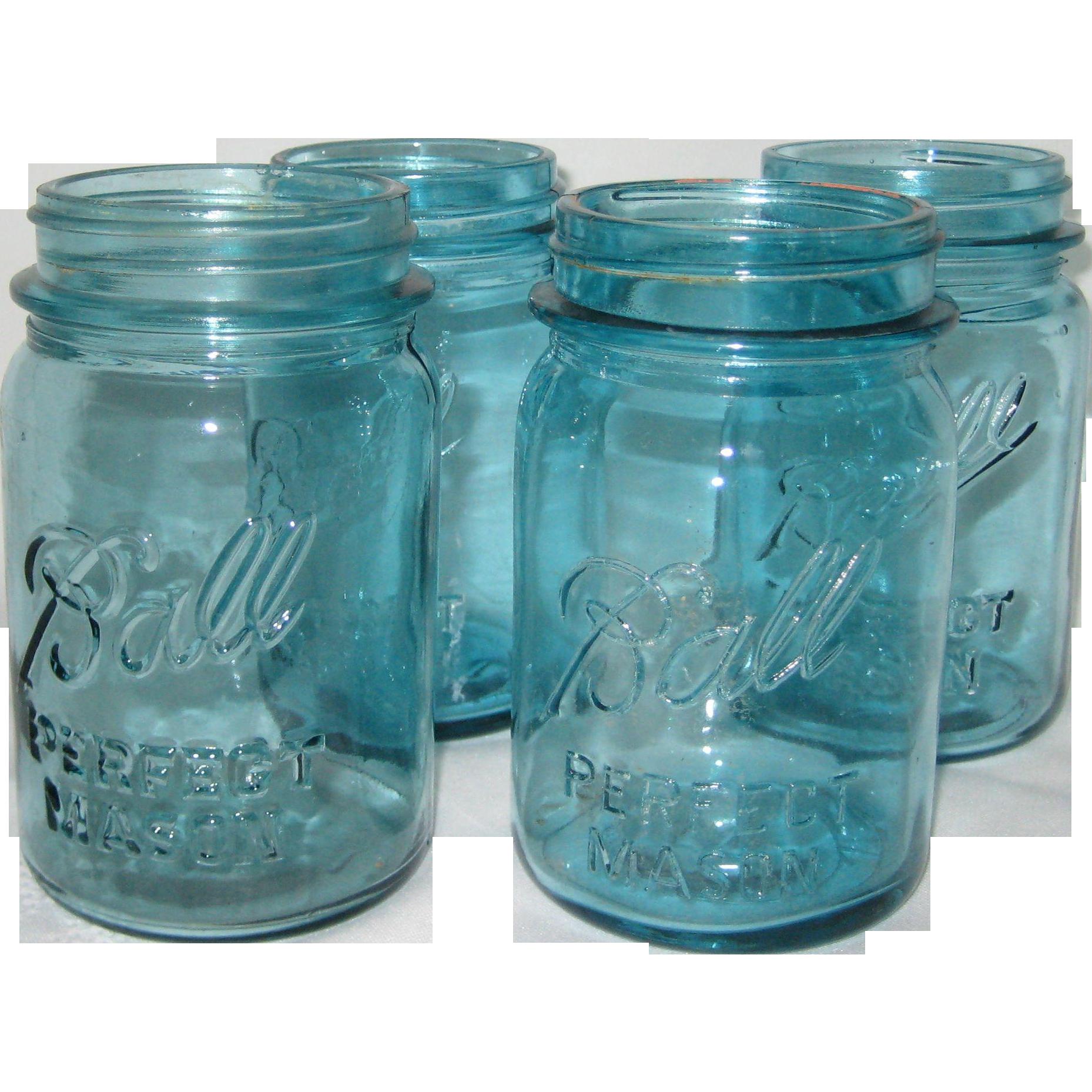 Four Ball Perfect Mason Aqua Blue Pint Canning or Fruit Jars - 1923 - 1962