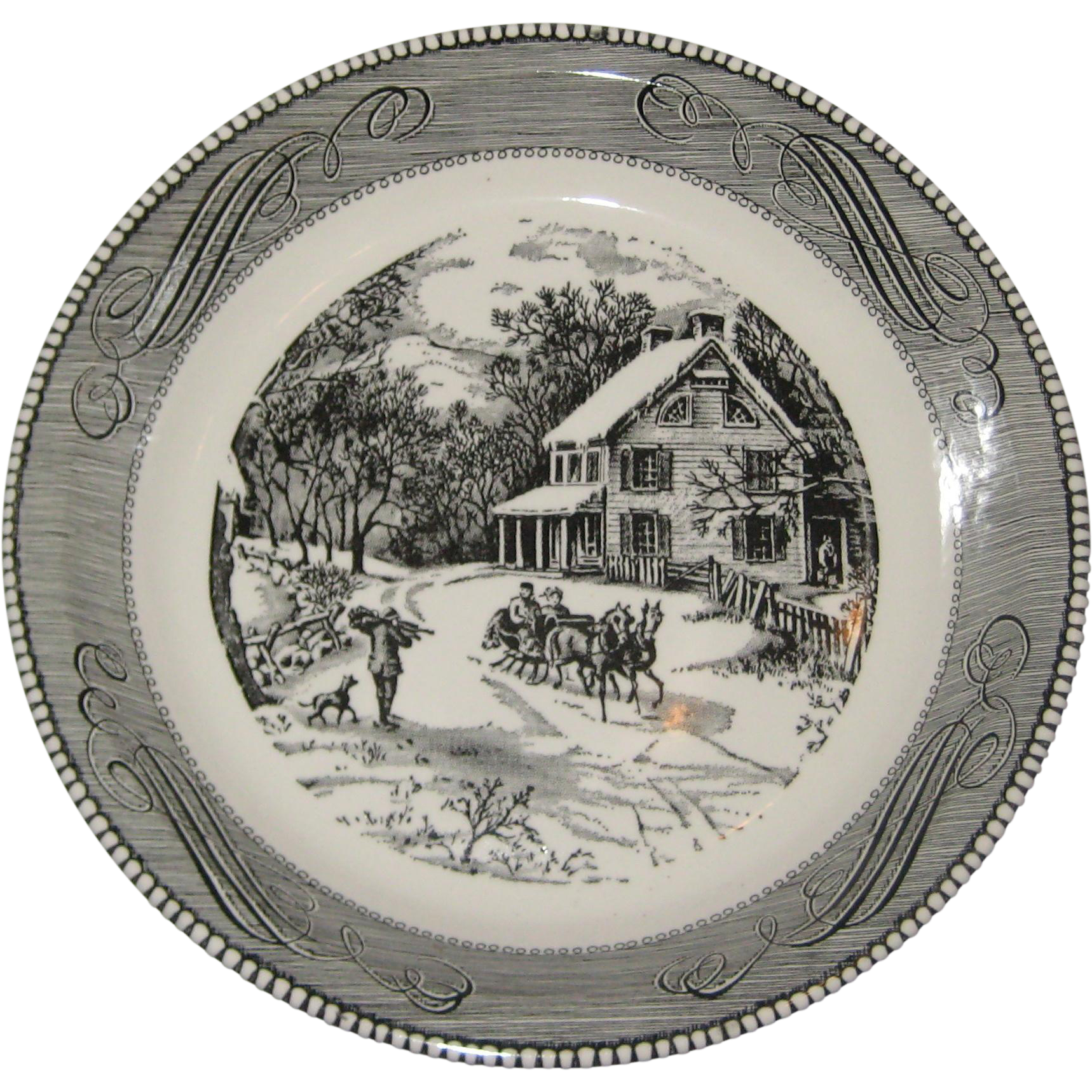 "Royal China Jeannette Currier and Ives ""American Homestead in Winter"" Pie Plate - Black on White"