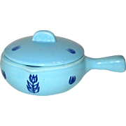 1950's Cronin Blue Tulip Individual French Casserole with Lid