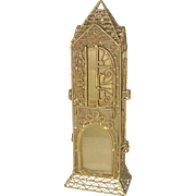 Unusual Gold Tone Metal Castle Tower Photo Frame