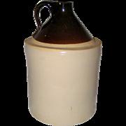 Old Brown and Tan Stoneware Crock or Jug - Late 1800's