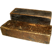 Two Old Wooden Drill Bit Boxes with Sliding Tops